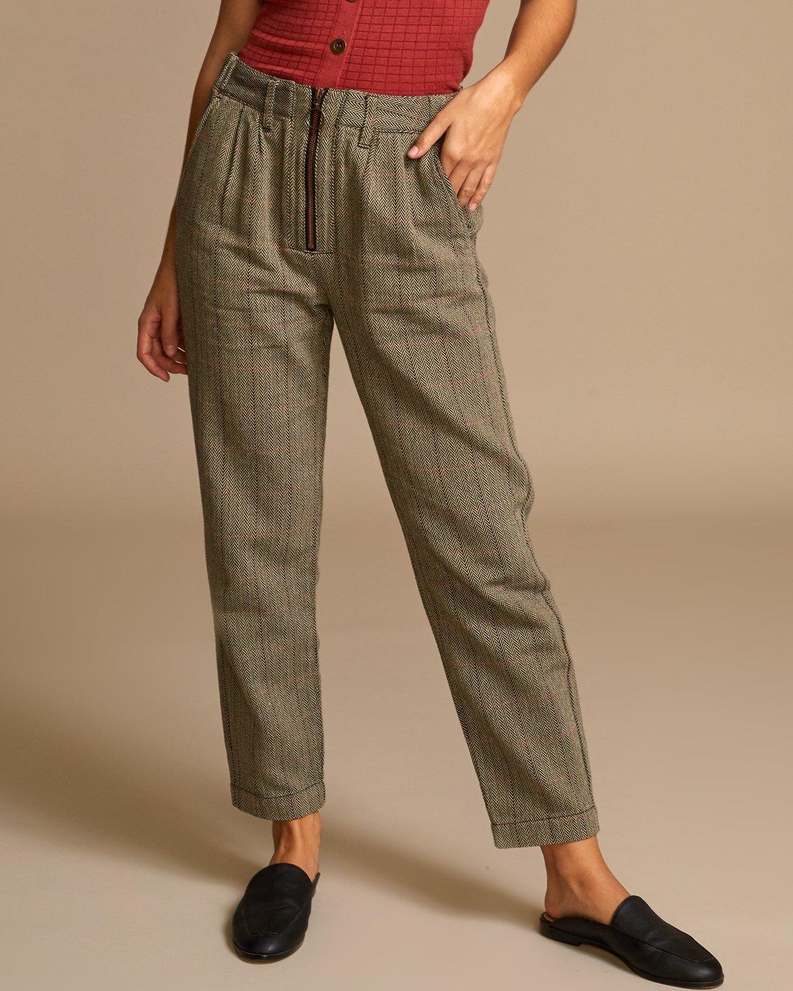 1 Lennex Herringbone Trousers Brown W301VRLE RVCA