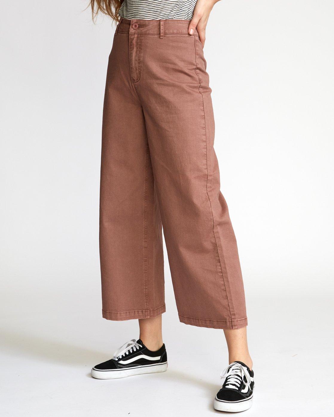 1 Niku High Waist Cropped Trouser Brown W305VRNI RVCA