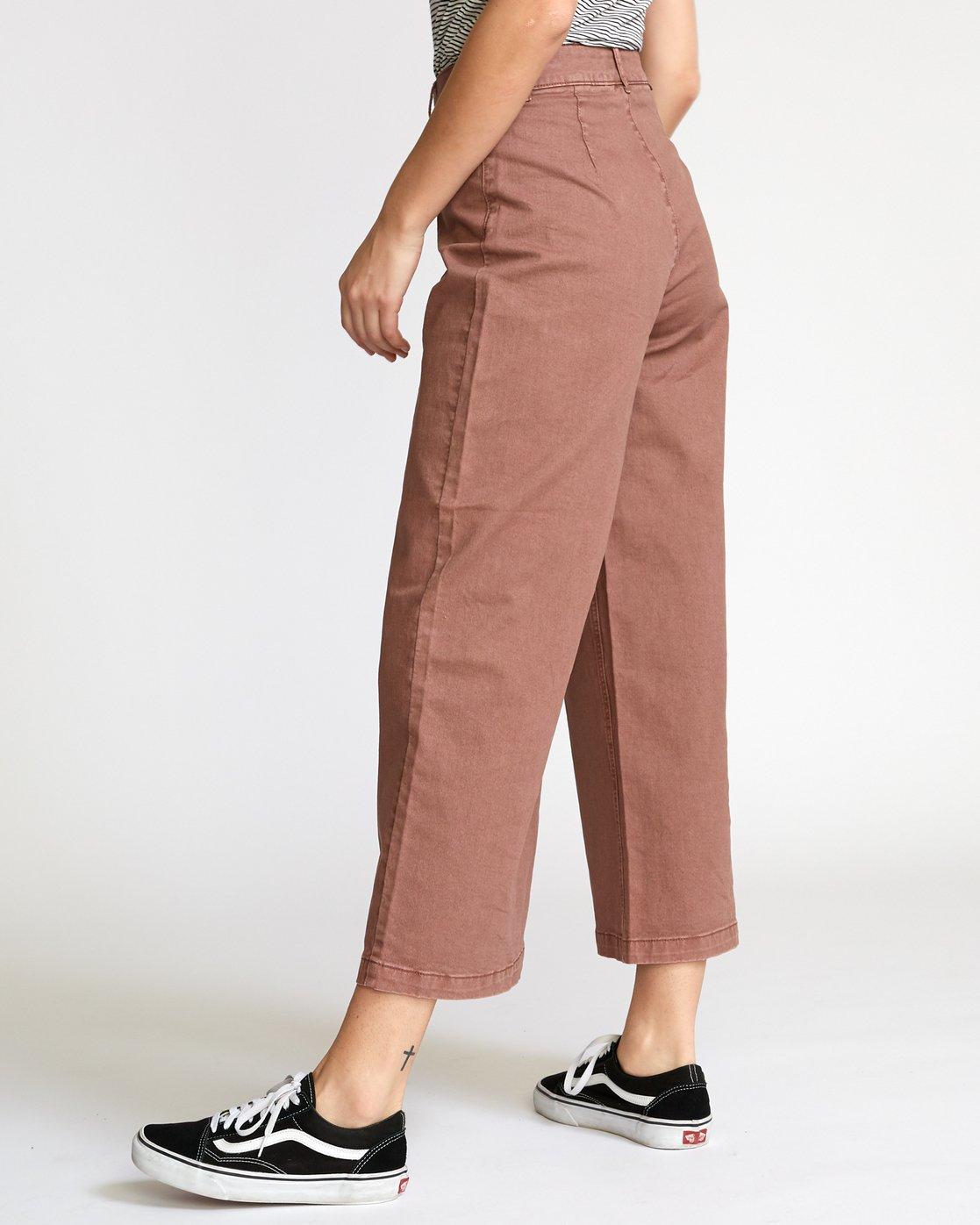 3 Niku High Waist Cropped Trouser Brown W305VRNI RVCA