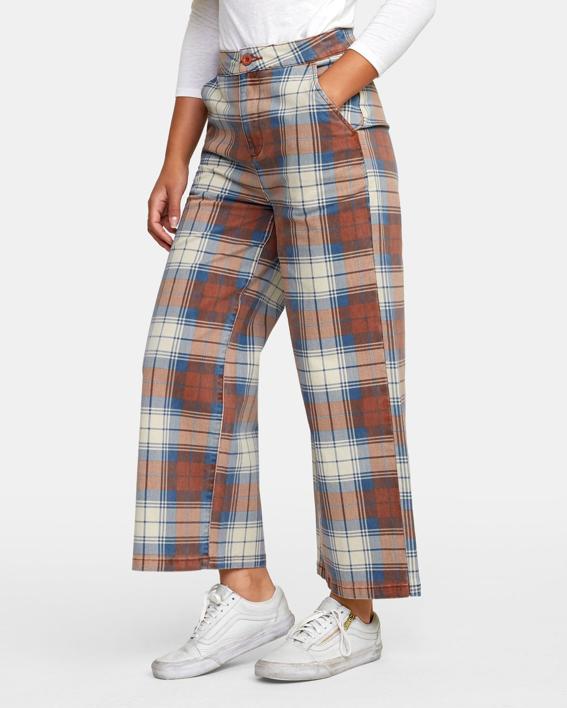 3 Niku Plaid High Rise Trousers Red W306WRNP RVCA