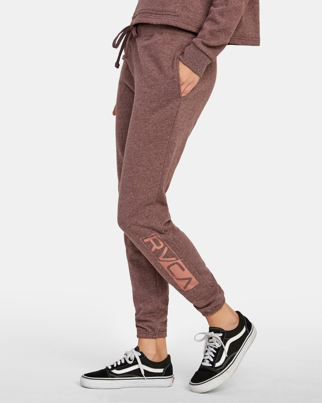 1 Lateral RVCA Sweatpants Brown W324WRLA RVCA