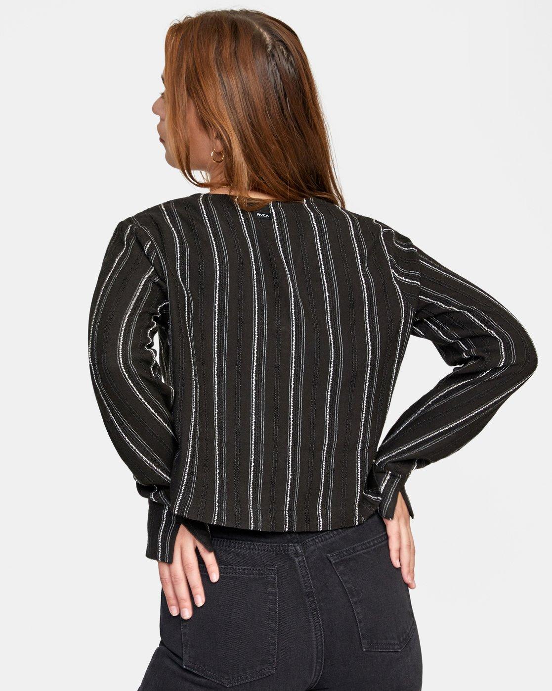 1 Hosta - Cropped Long Sleeve Shirt for Women Black W3SHRBRVP1 RVCA