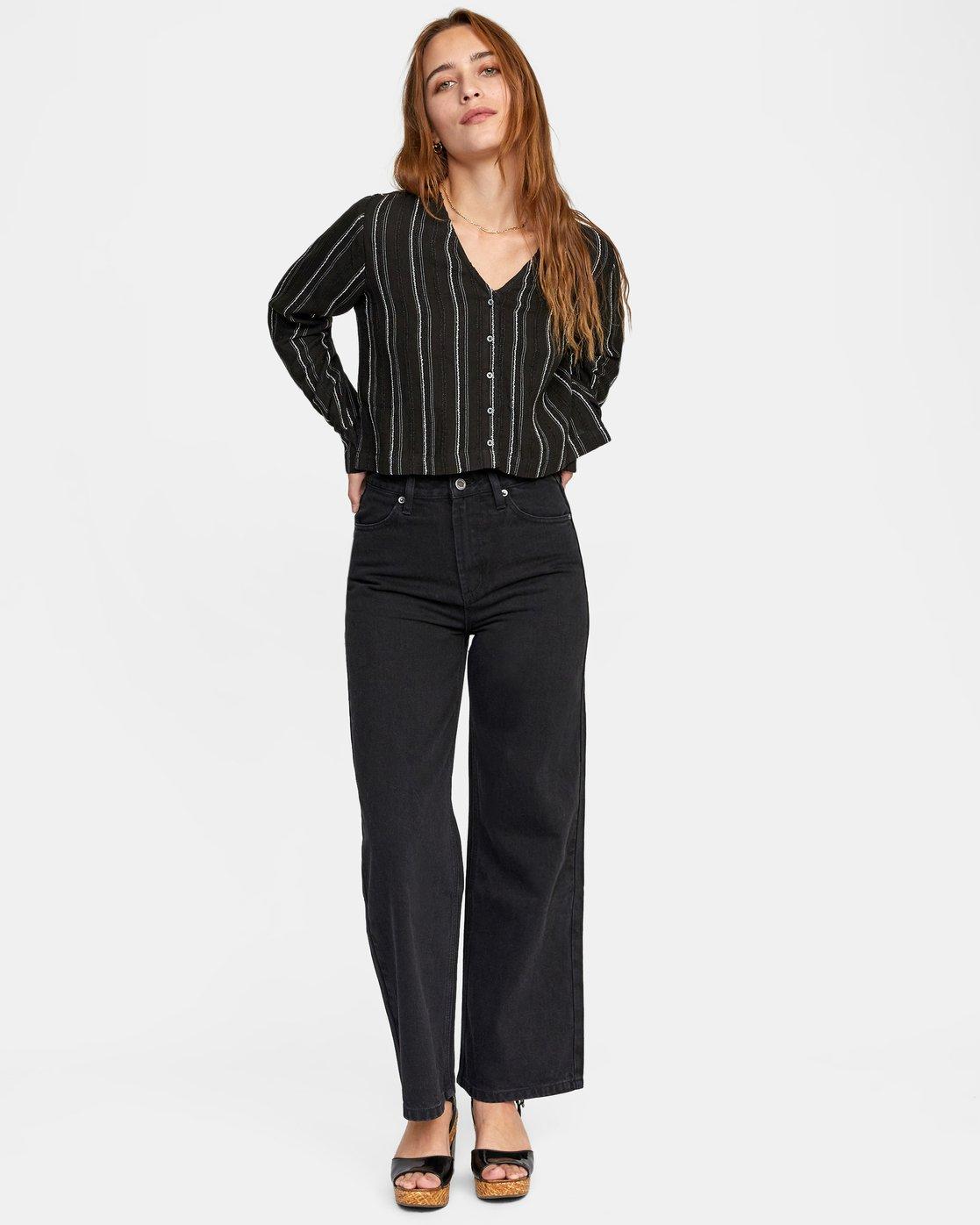 3 Hosta - Cropped Long Sleeve Shirt for Women Black W3SHRBRVP1 RVCA