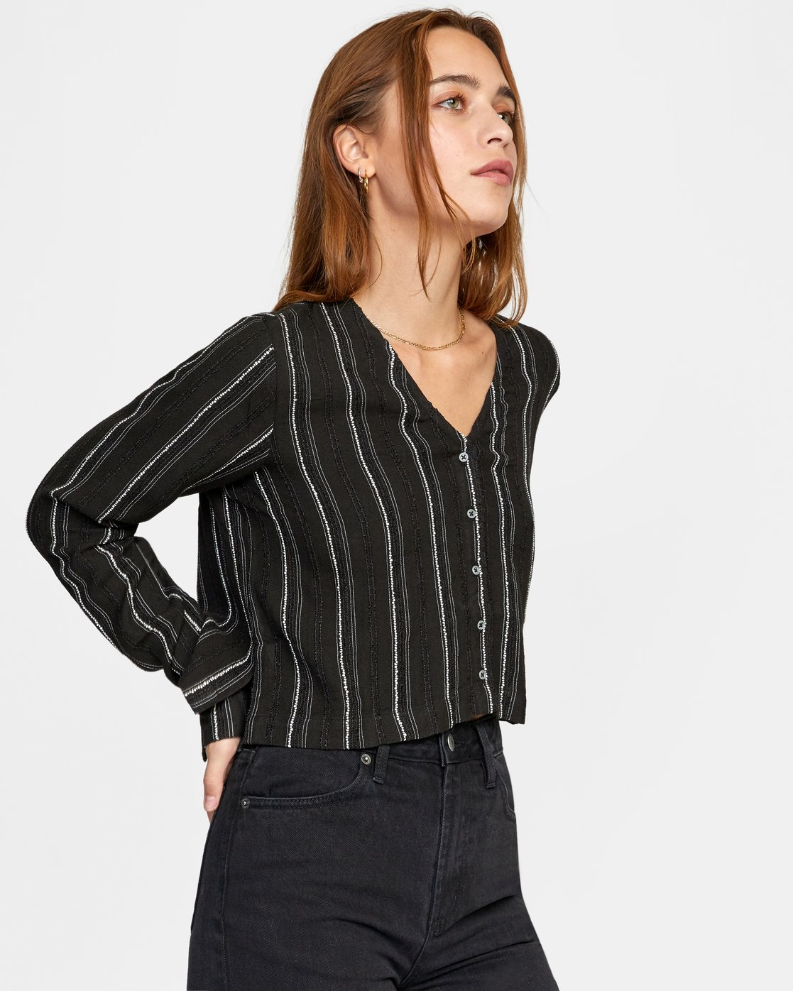 4 Hosta - Cropped Long Sleeve Shirt for Women Black W3SHRBRVP1 RVCA