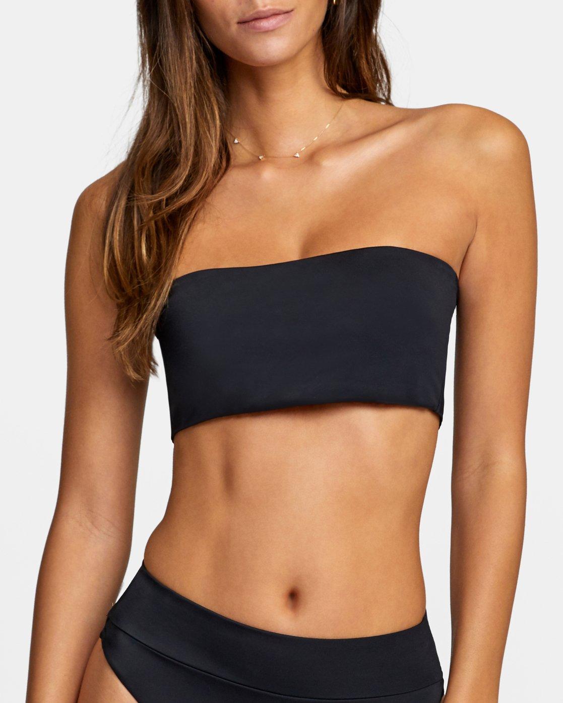 2 Solid Bandeau - Bikini Top for Women Black W3STRMRVP1 RVCA