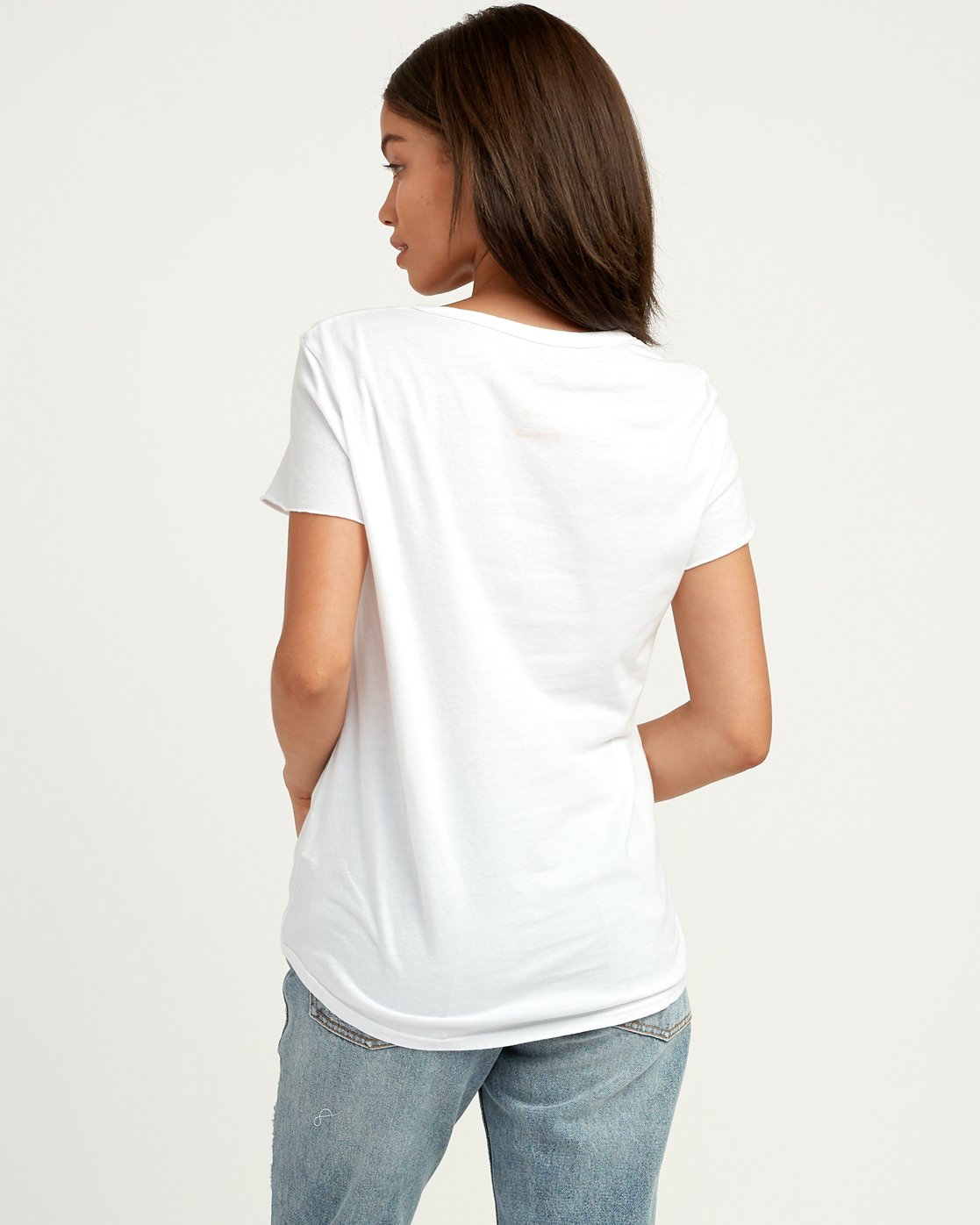 2 Oblow Palm Scoop Neck T-Shirt White W401QROS RVCA