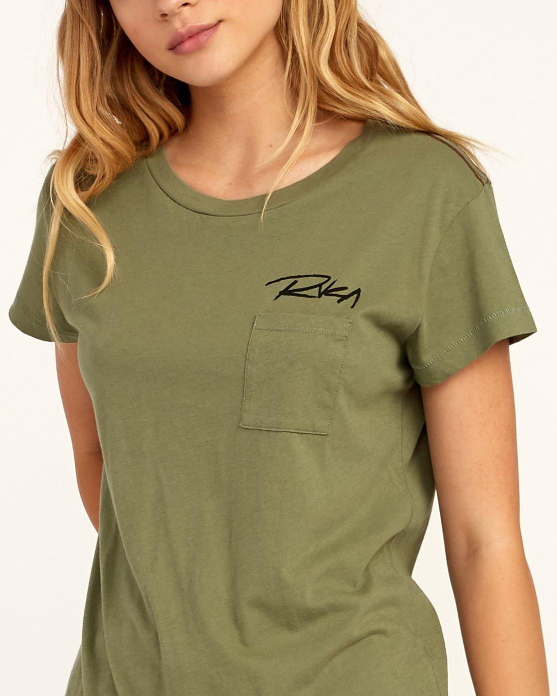 4 Fast Script T-Shirt Green W404TRFA RVCA