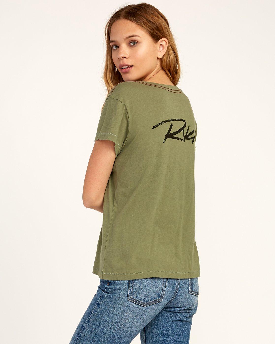 3 Fast Script T-Shirt Green W404TRFA RVCA
