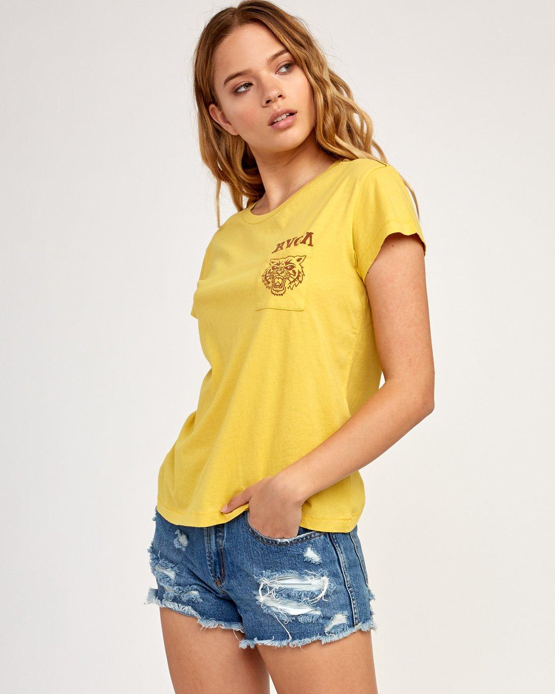 3 Heritage ANP T-Shirt Yellow W404TRHE RVCA