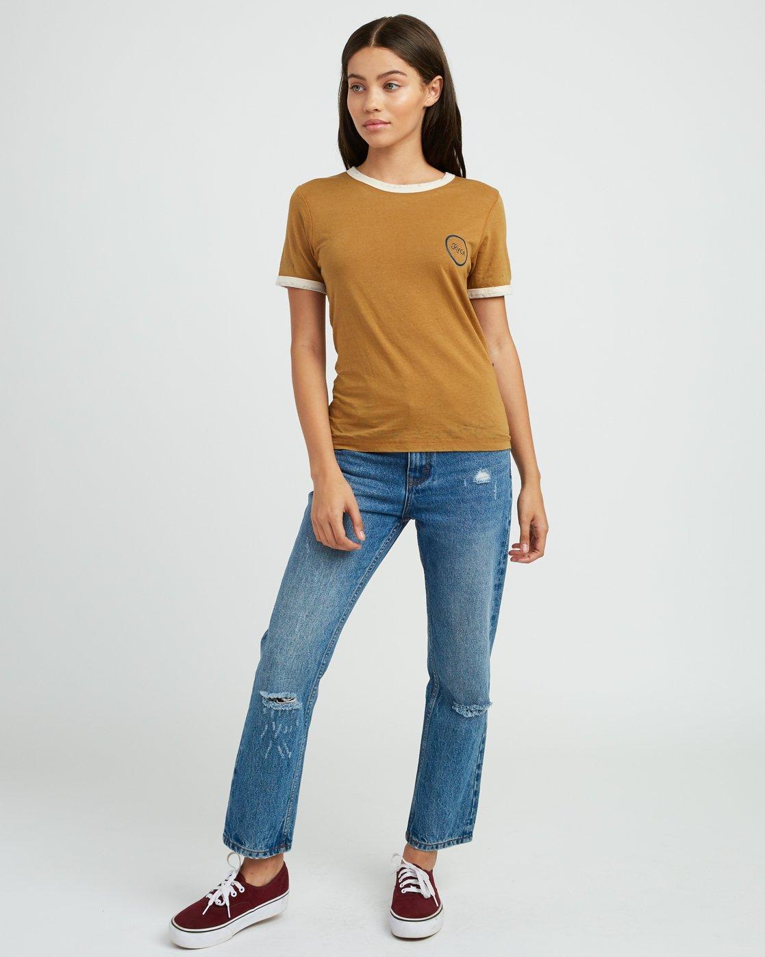 4 Pixel Script Burnout Ringer T-Shirt Yellow W410SRPI RVCA