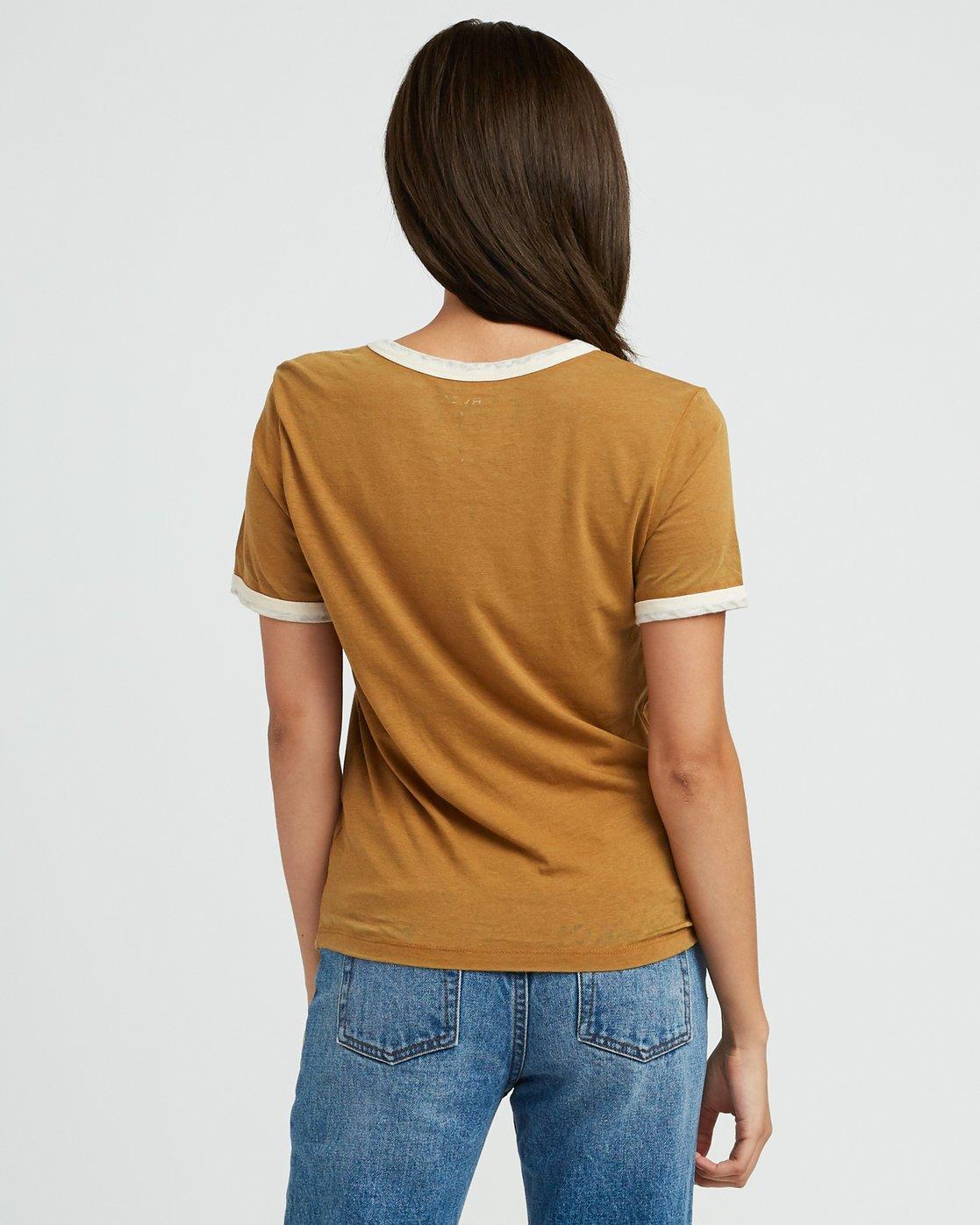 2 Pixel Script Burnout Ringer T-Shirt Yellow W410SRPI RVCA