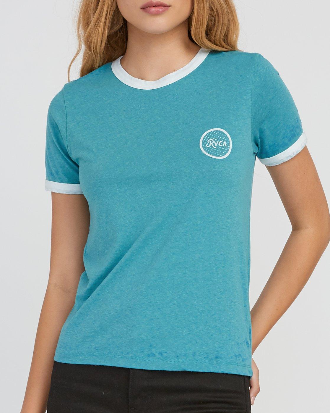 3 Pixel Script Burnout Ringer T-Shirt Brown W410SRPI RVCA