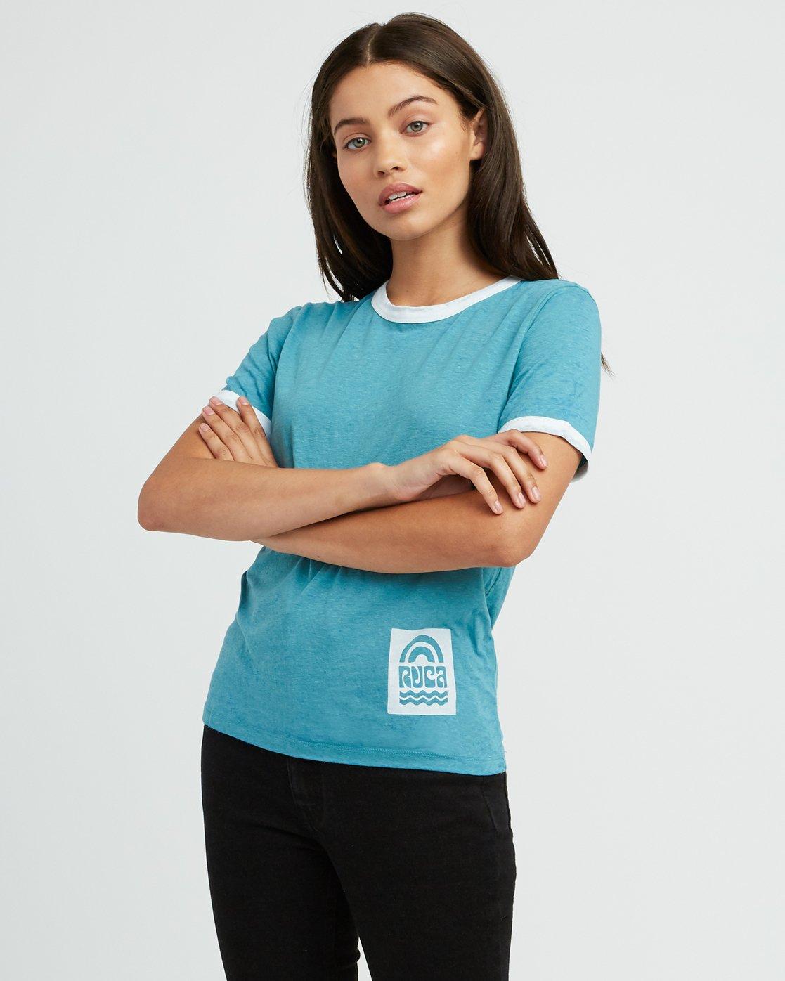 0 Rivey Era Burnout Ringer T-Shirt Pink W410SRRI RVCA