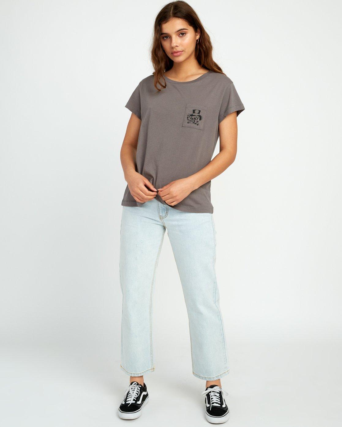 4 Bert Krak Pick Your Battles Pocket T-Shirt Grey W412URPI RVCA