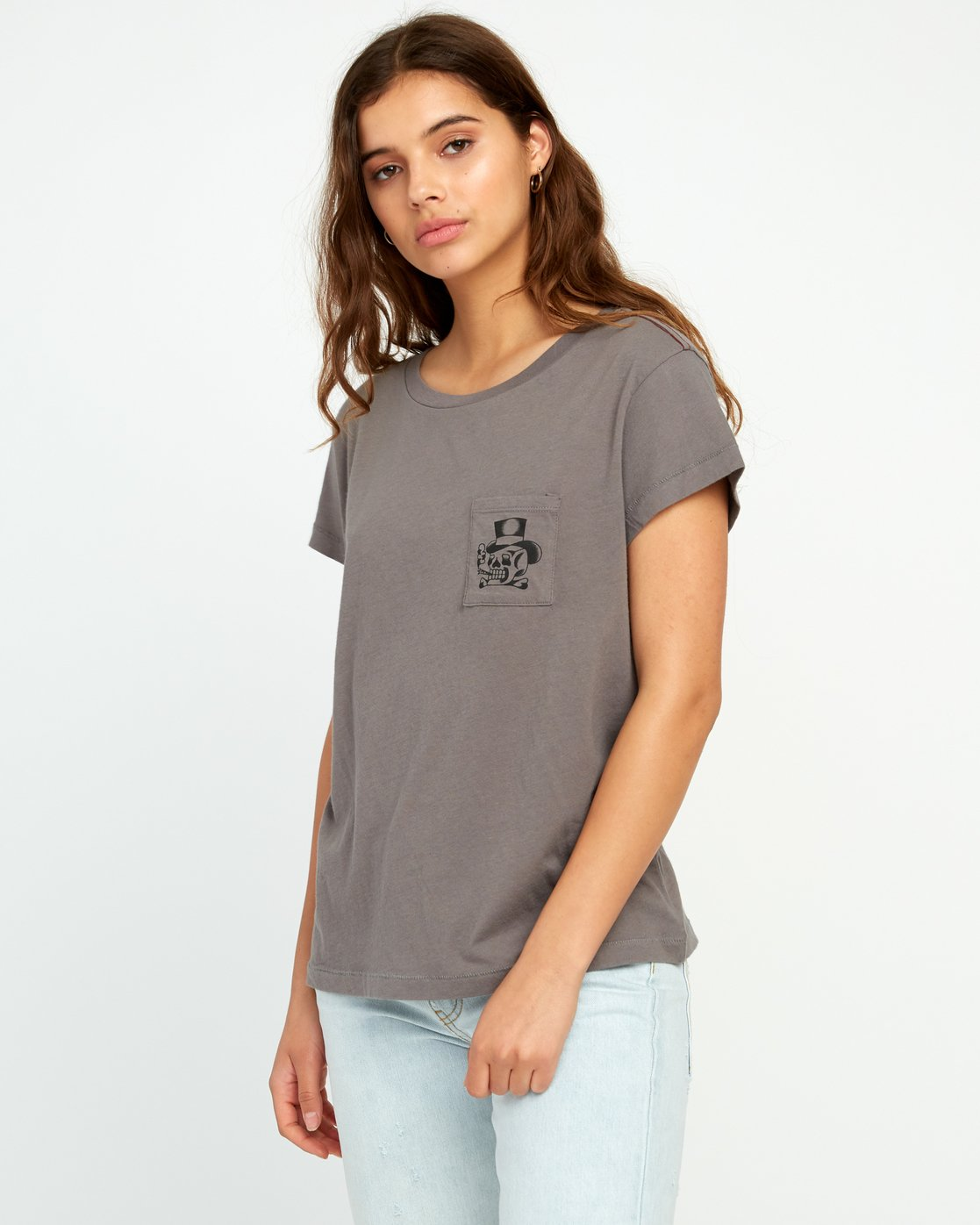 0 Bert Krak Pick Your Battles Pocket T-Shirt Grey W412URPI RVCA
