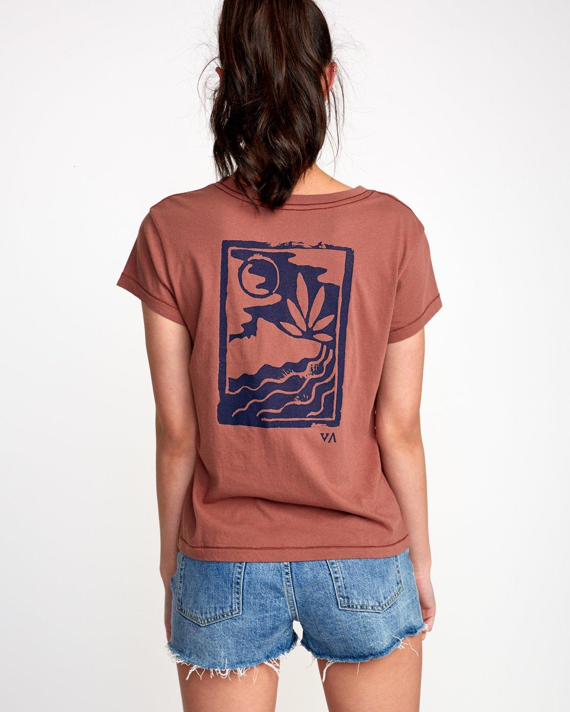 3 Linocut Relaxed T-Shirt Brown W412VRLI RVCA