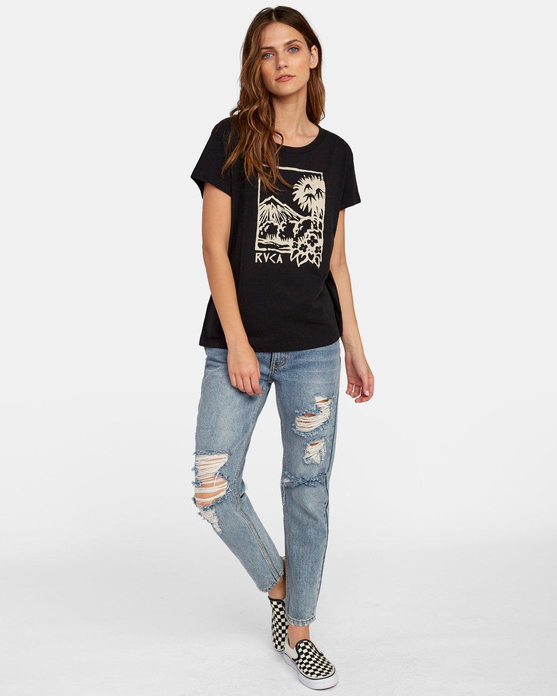 3 Linopalm Pocket T-Shirt Black W412WRLI RVCA