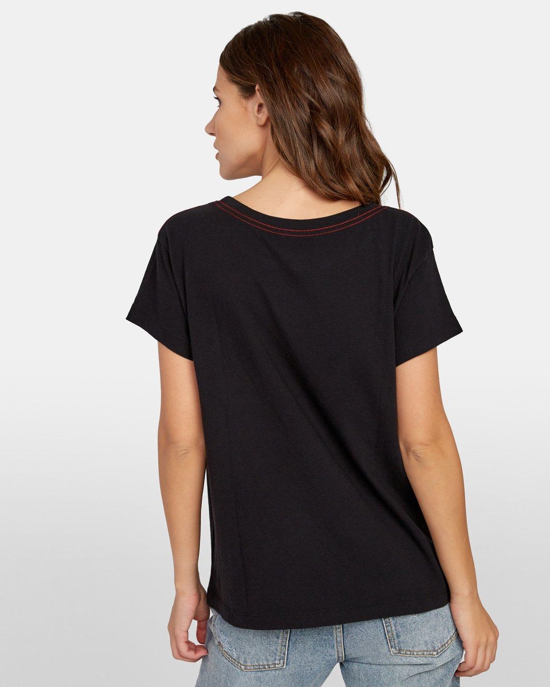 2 Linopalm Pocket T-Shirt Black W412WRLI RVCA