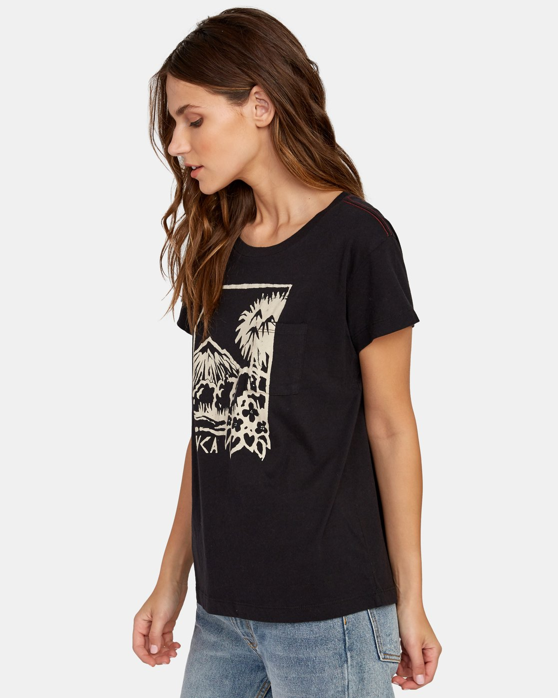 1 Linopalm Pocket T-Shirt Black W412WRLI RVCA