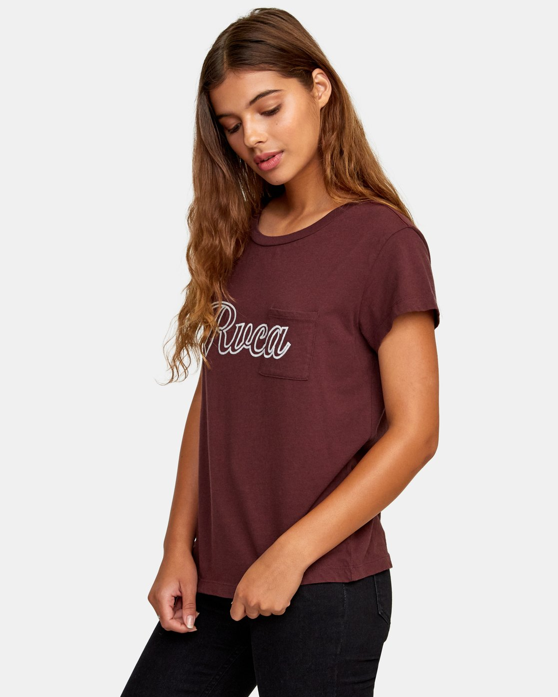 1 Pinscript Pocket T-Shirt Brown W412WRPI RVCA