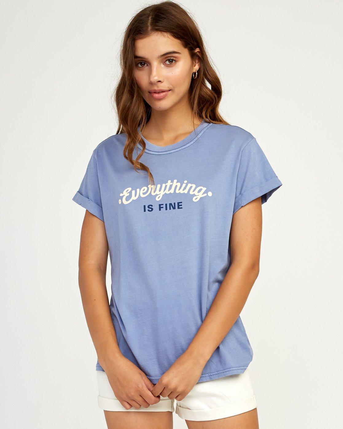 0 Everything Is Fine T-Shirt Blue W436TREV RVCA