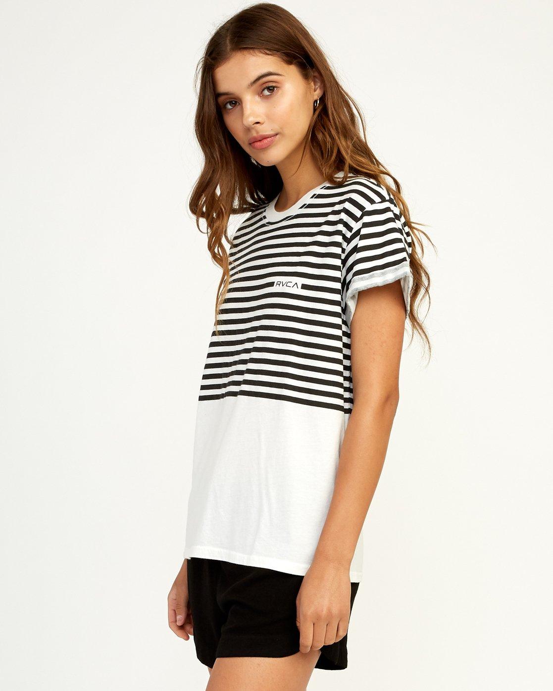 1 House Stripe T-Shirt White W436TRHO RVCA
