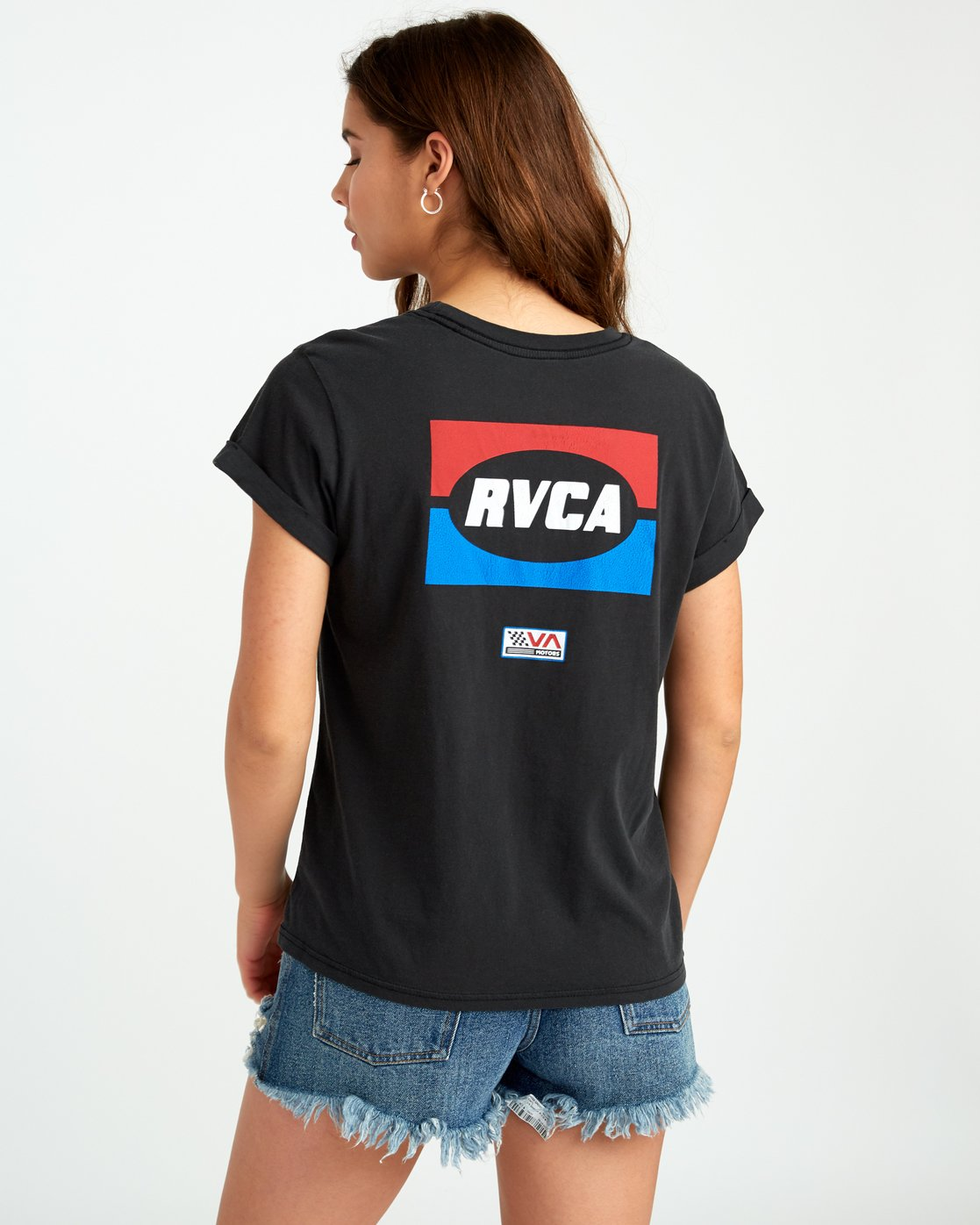 0 Daytona Cuffed Crew T-Shirt Black W436URDA RVCA