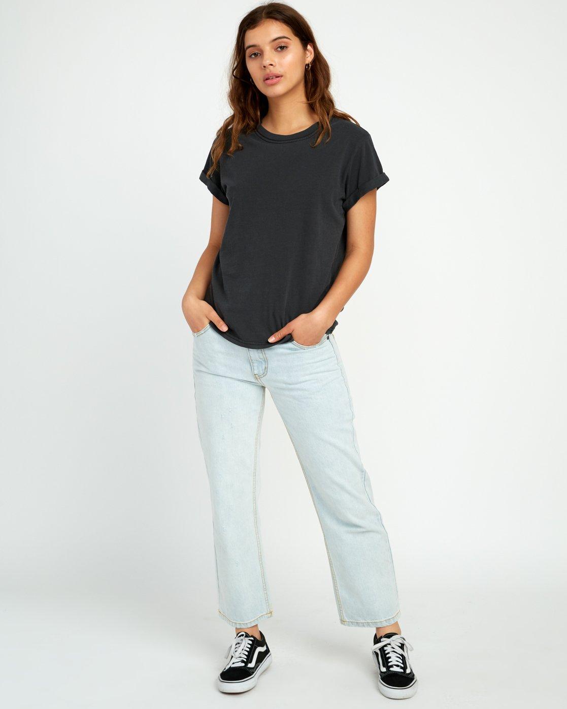 4 Solid Label Cuffed Crew T-Shirt Black W436URLA RVCA