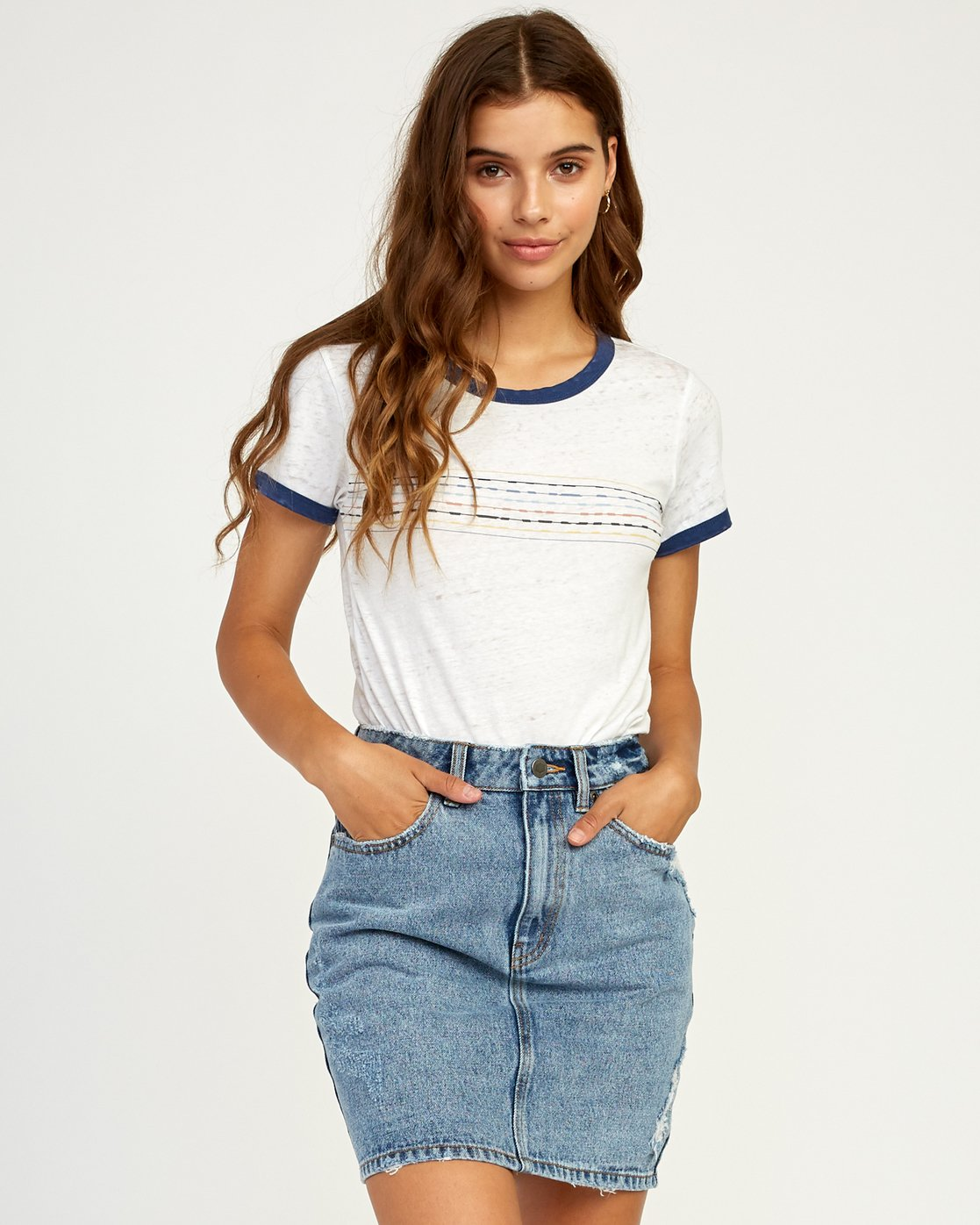 RVCA Womens Double Vision Ringer T-Shirt