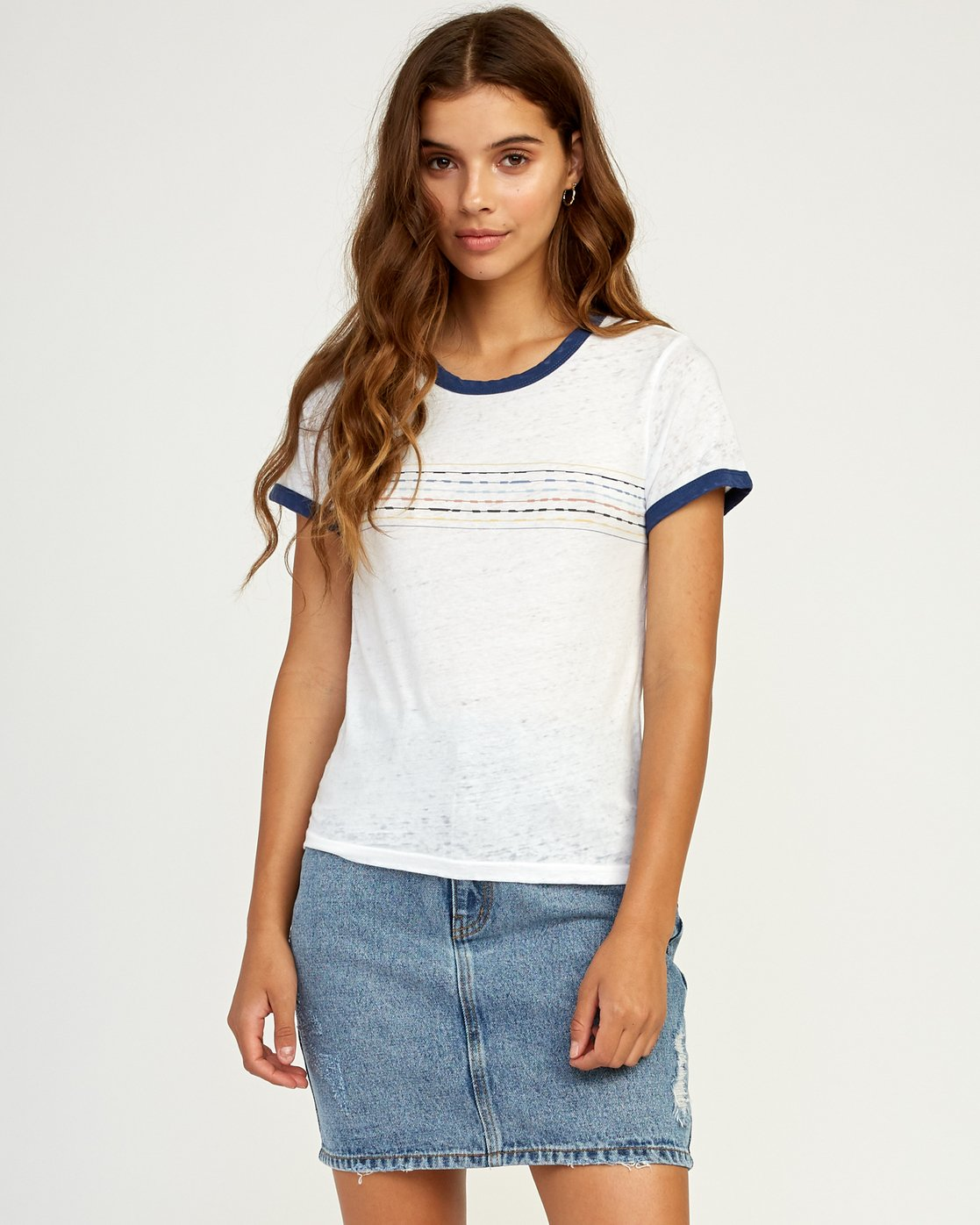 1 Double Vision Ringer T-Shirt White W437TRDO RVCA