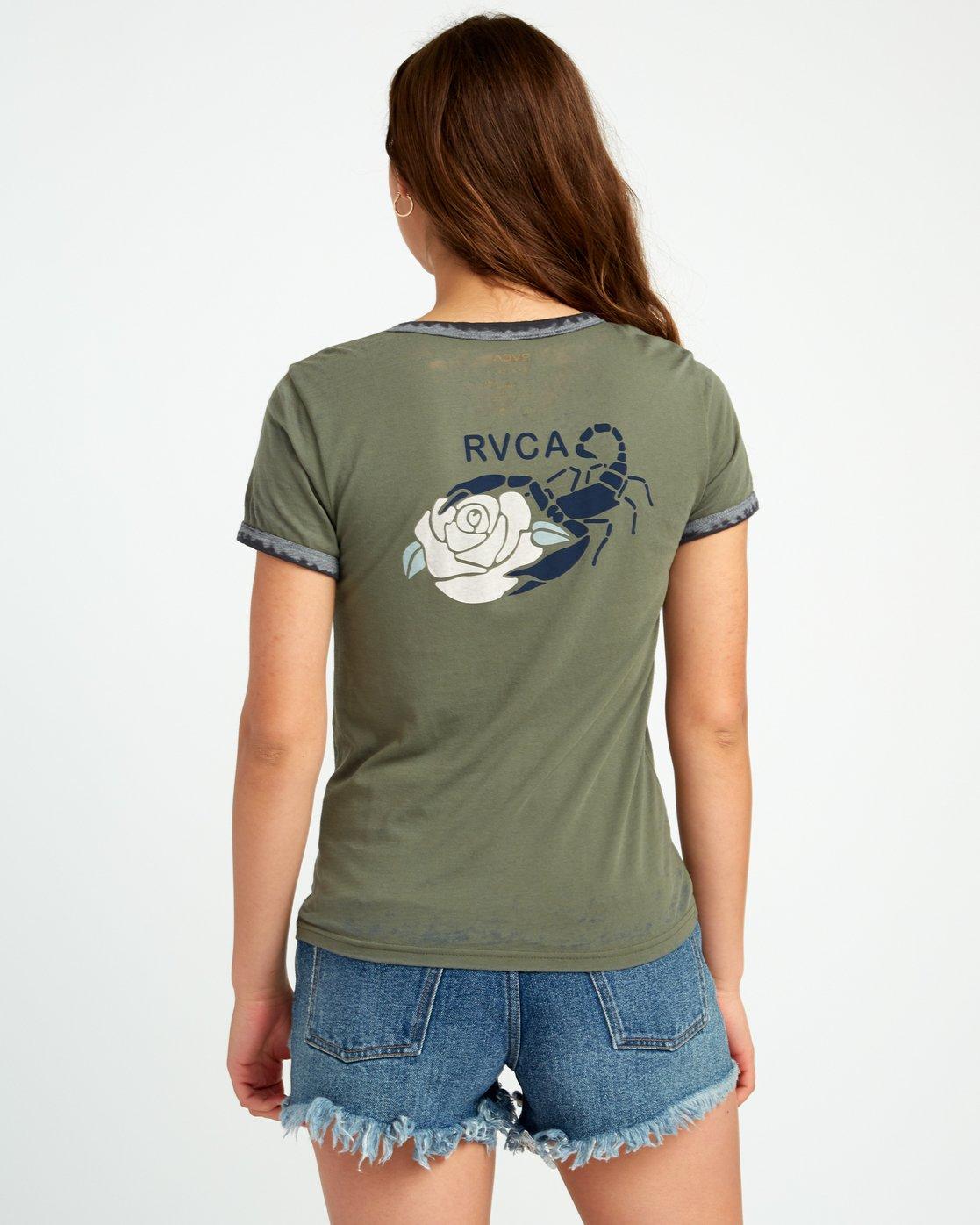 3 Lovestrung Burnout Ringer T-Shirt Green W437URLO RVCA