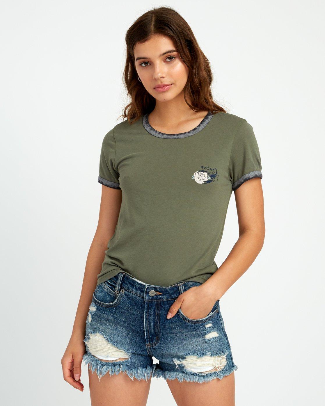 1 Lovestrung Burnout Ringer T-Shirt Green W437URLO RVCA