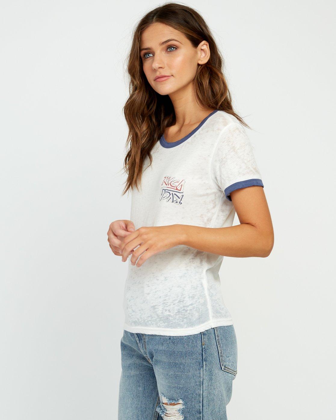 2 Offset Burnout Ringer T-Shirt White W437UROF RVCA