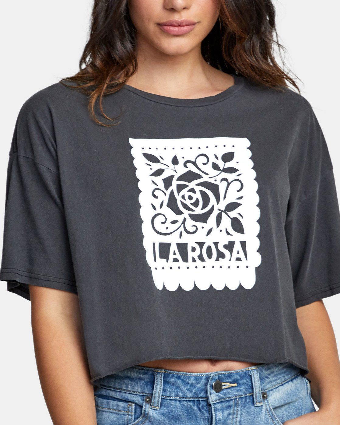 4 LA ROSA CROPPED T-SHIRT Black W4411RLR RVCA