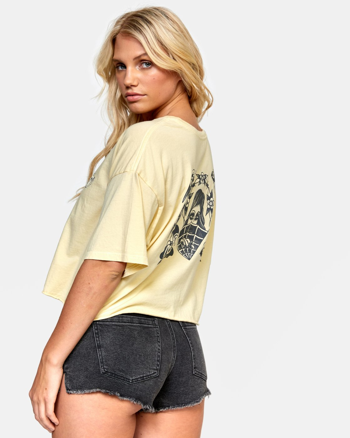 3 ELI FLASH BOYFRIEND CROP TEE Grey W4412REF RVCA