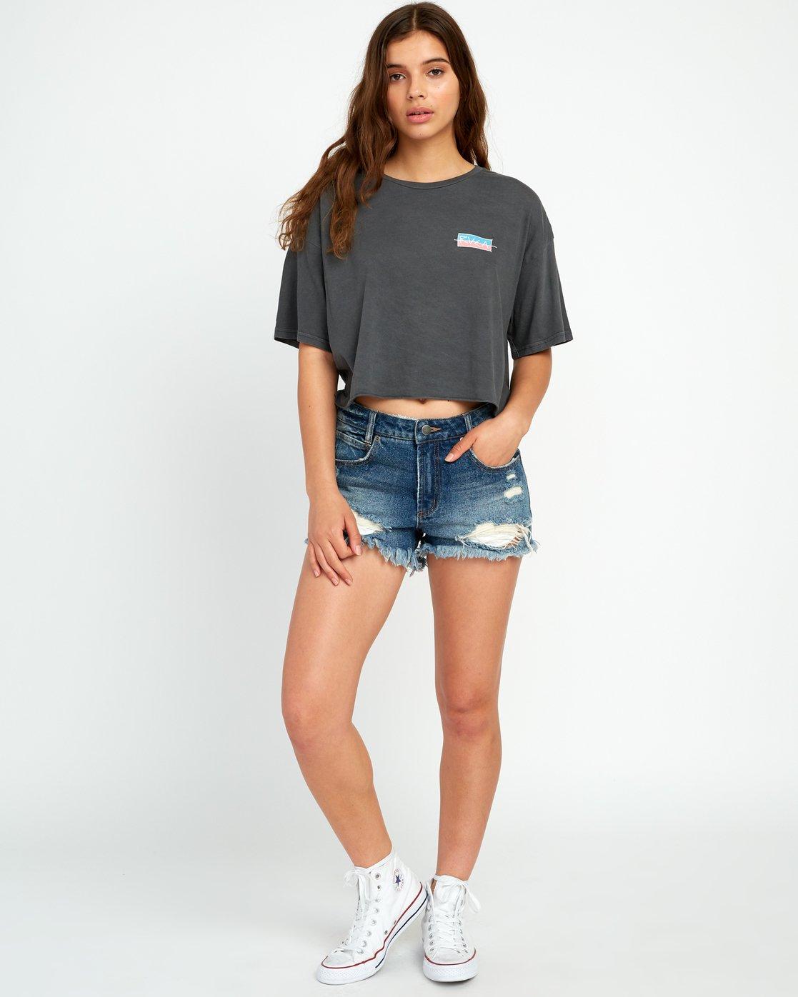 4 Split Crawl Cropped T-Shirt Black W441URSP RVCA