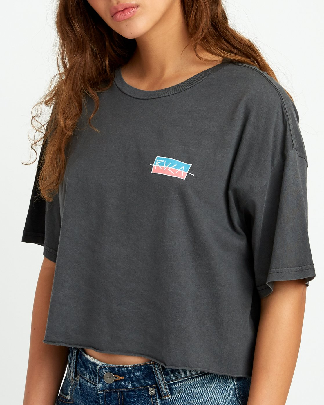 3 Split Crawl Cropped T-Shirt Black W441URSP RVCA