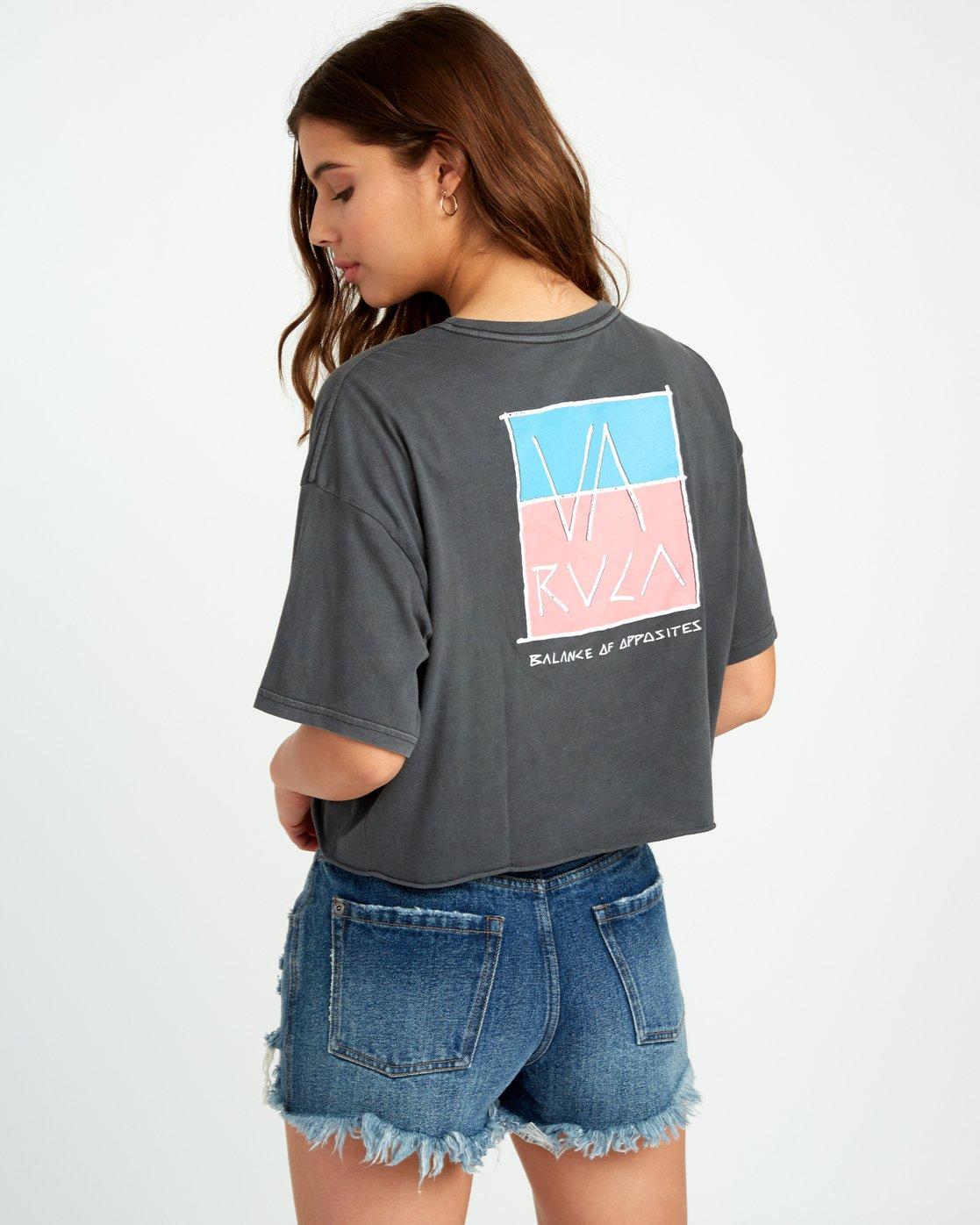 0 Split Crawl Cropped T-Shirt Black W441URSP RVCA