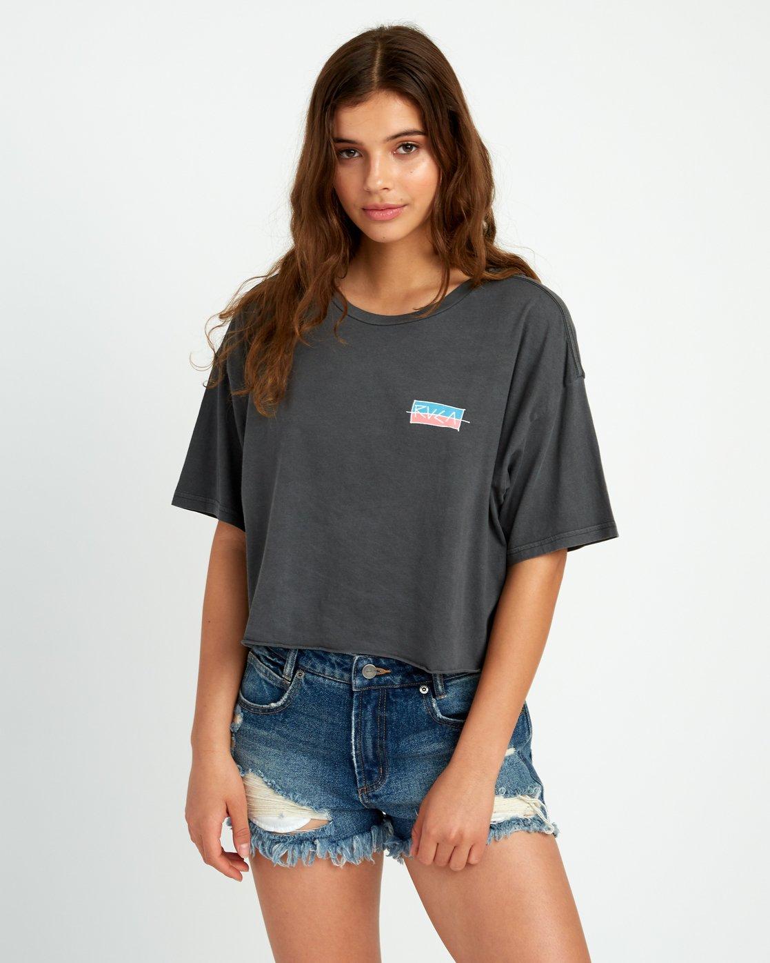 1 Split Crawl Cropped T-Shirt Black W441URSP RVCA