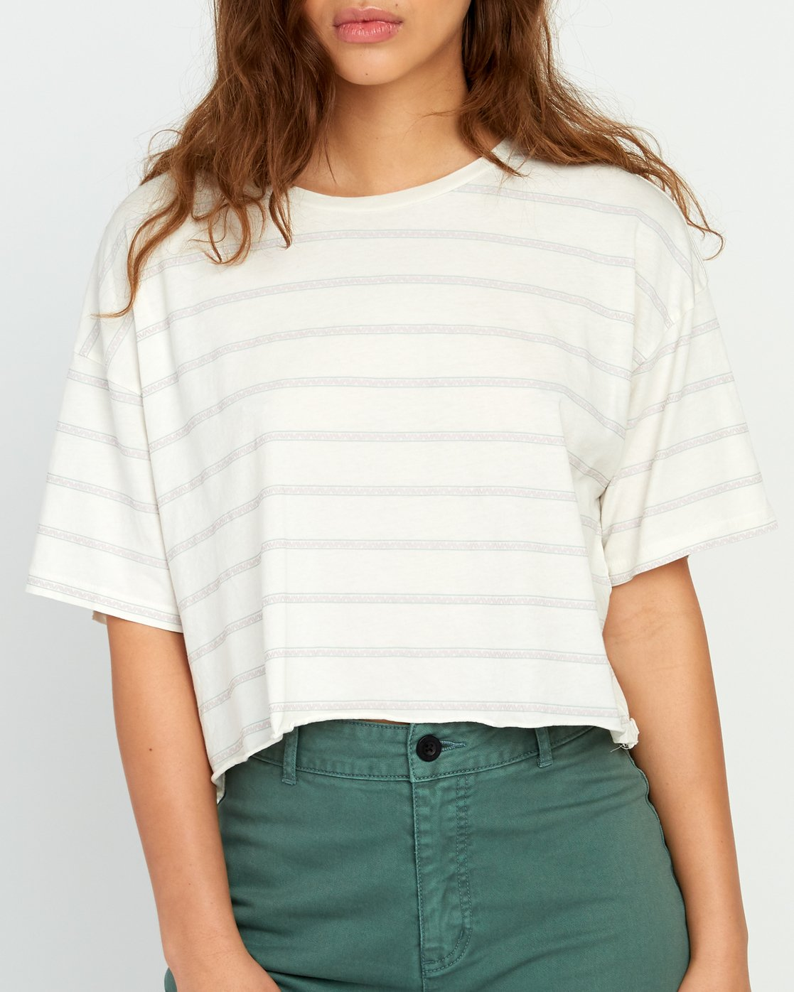 3 Vava Striped Cropped T-Shirt Grey W441URVA RVCA