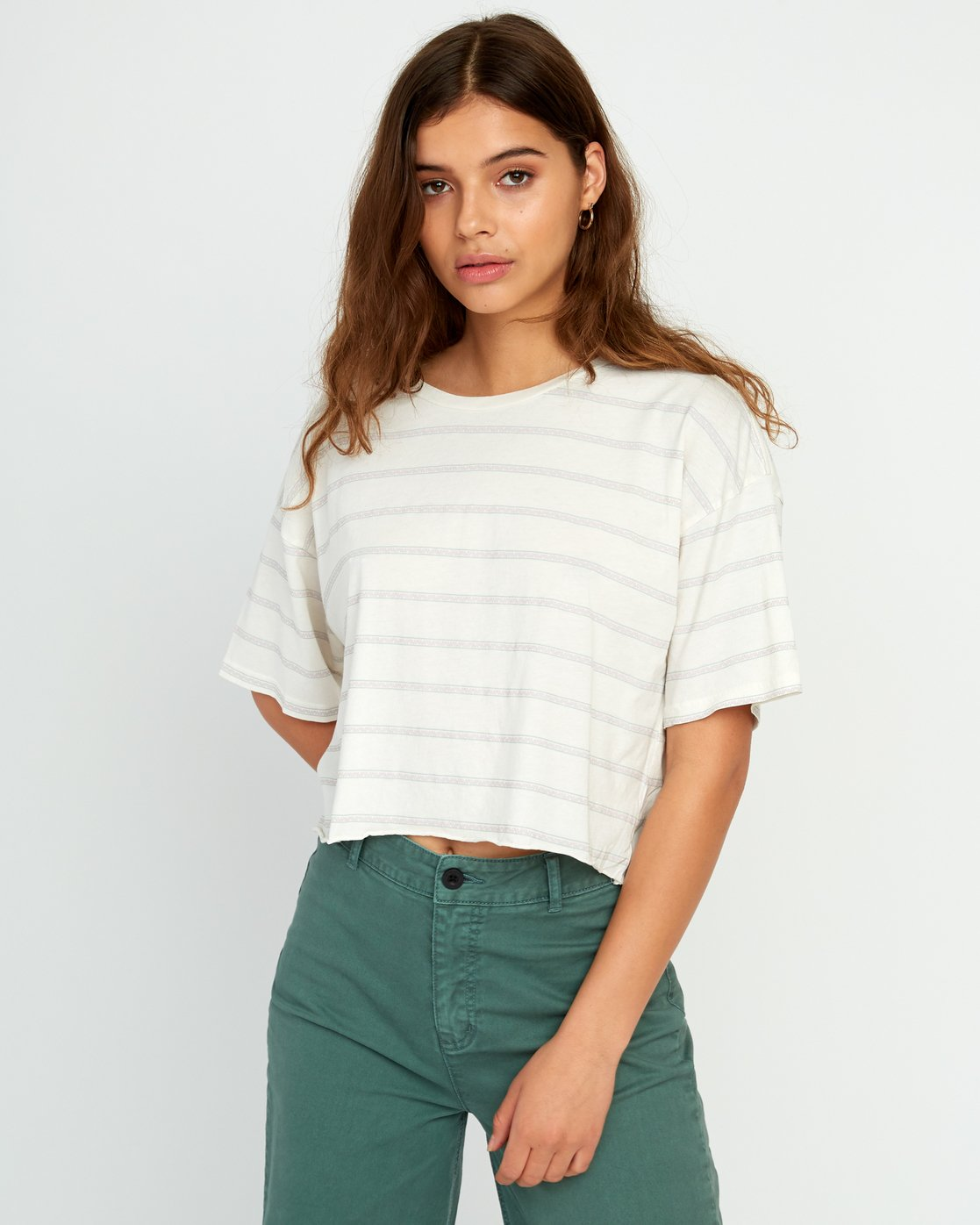 1 Vava Striped Cropped T-Shirt Grey W441URVA RVCA