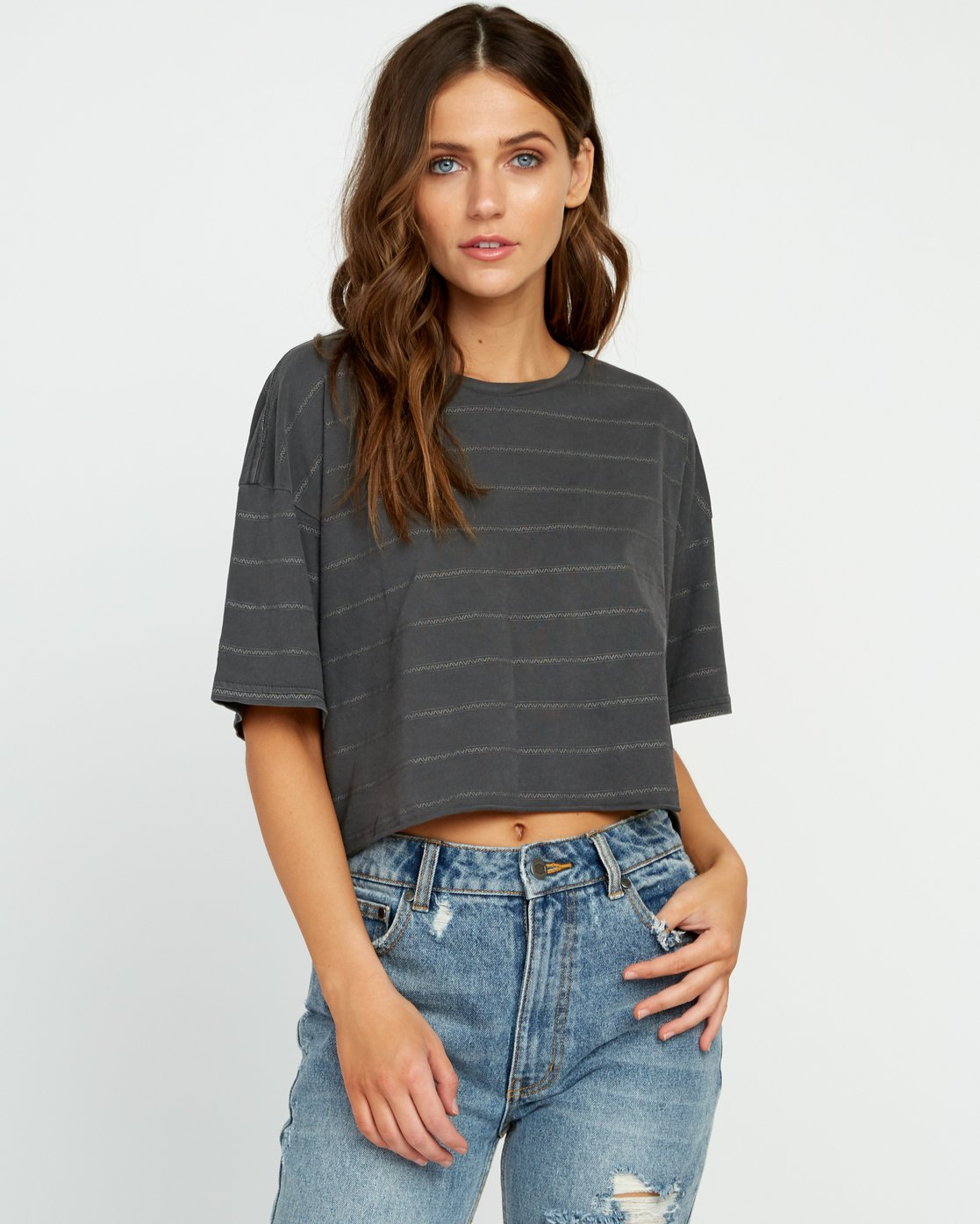 1 Vava Striped Cropped T-Shirt Black W441URVA RVCA