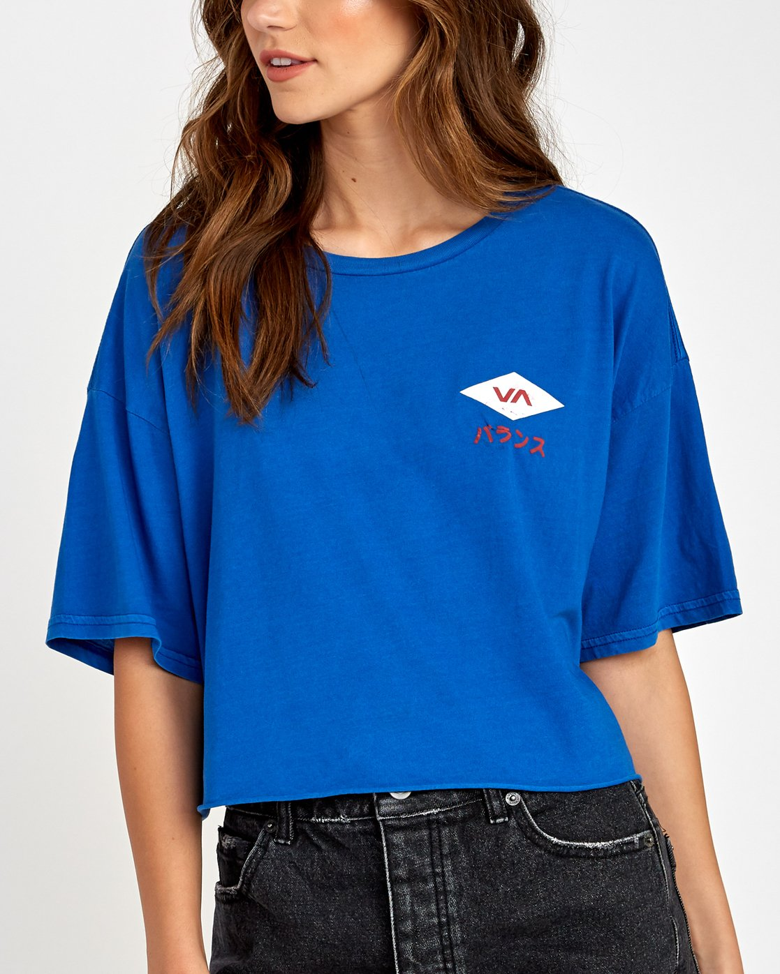 3 Flint Cropped T-Shirt Blue W441VRFL RVCA
