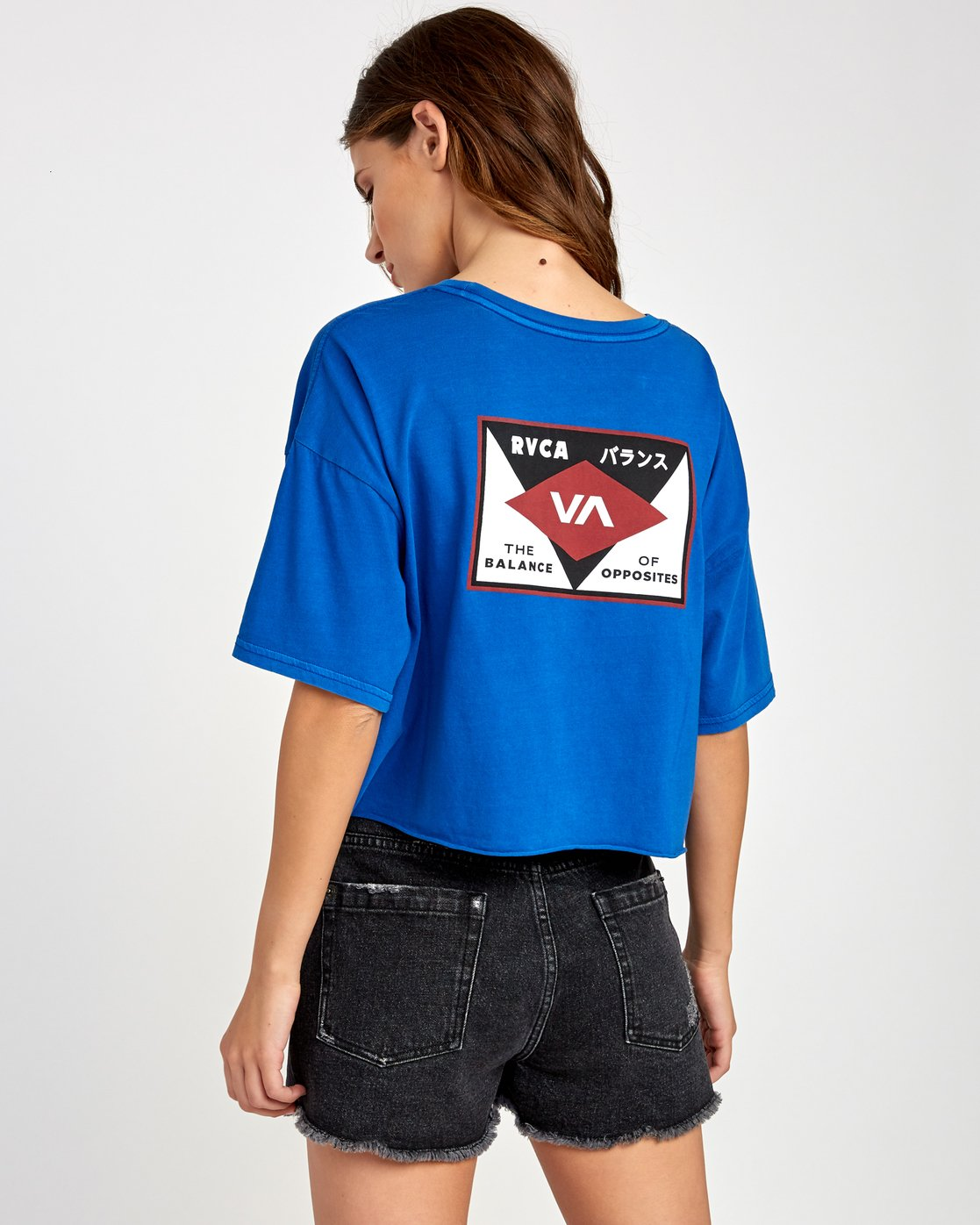 1 Flint Cropped T-Shirt Blue W441VRFL RVCA