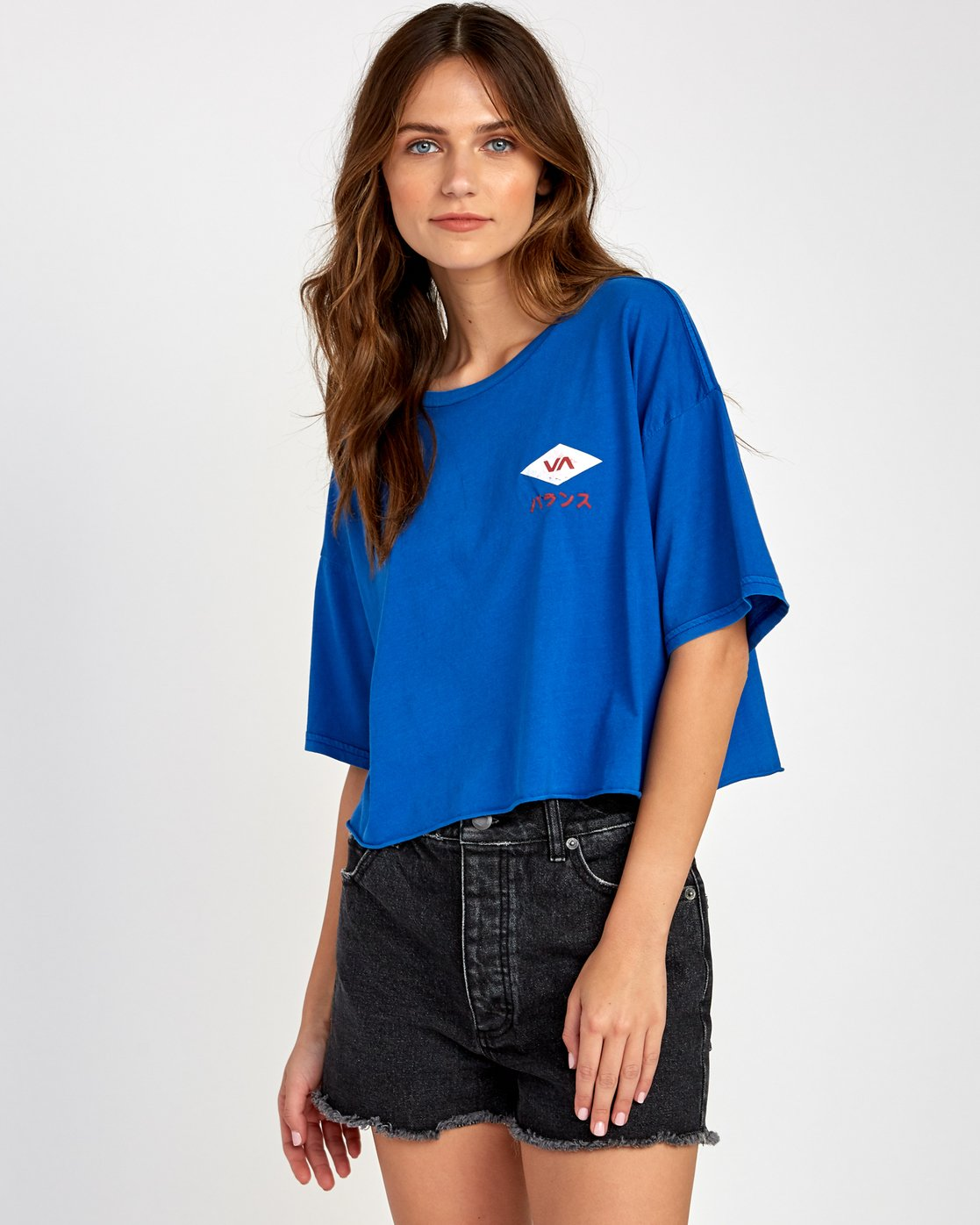 2 Flint Cropped T-Shirt Blue W441VRFL RVCA