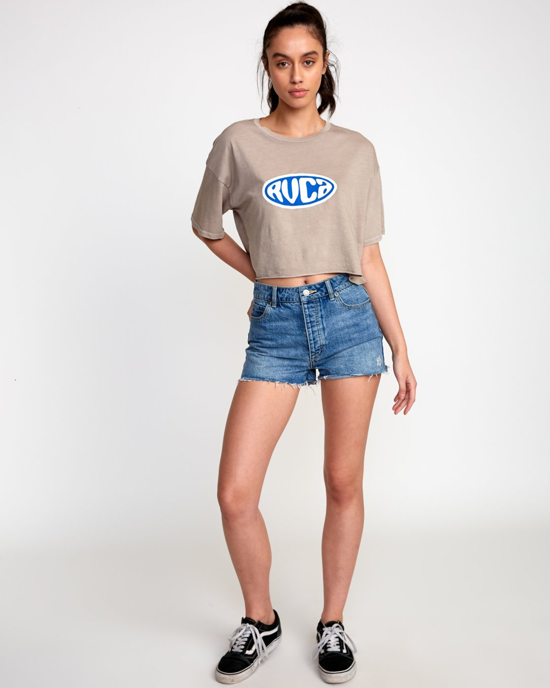 3 Slacker Cropped T-Shirt Grey W441VRSL RVCA