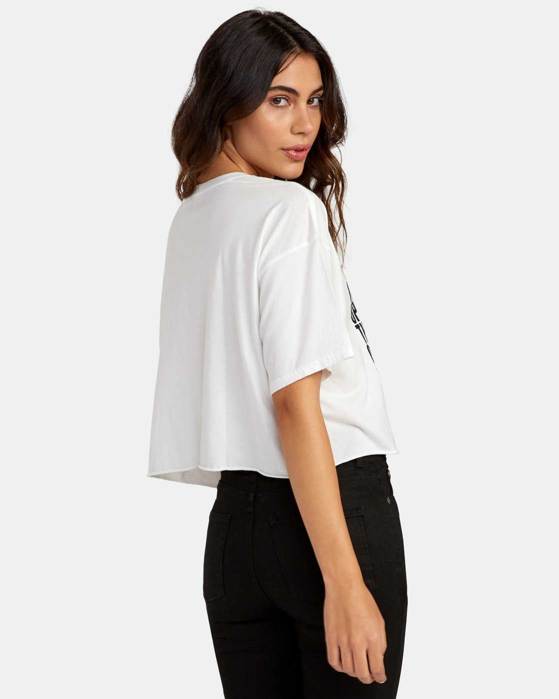 4 Block Out Cropped T-Shirt White W441WRBL RVCA