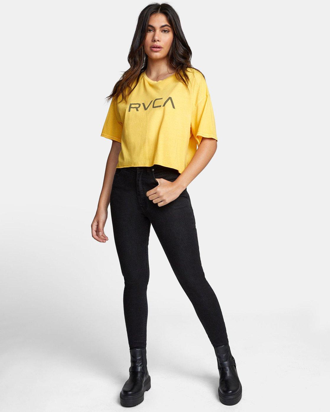 1 BIG RVCA CROP T-SHIRT Yellow W441WRBR RVCA