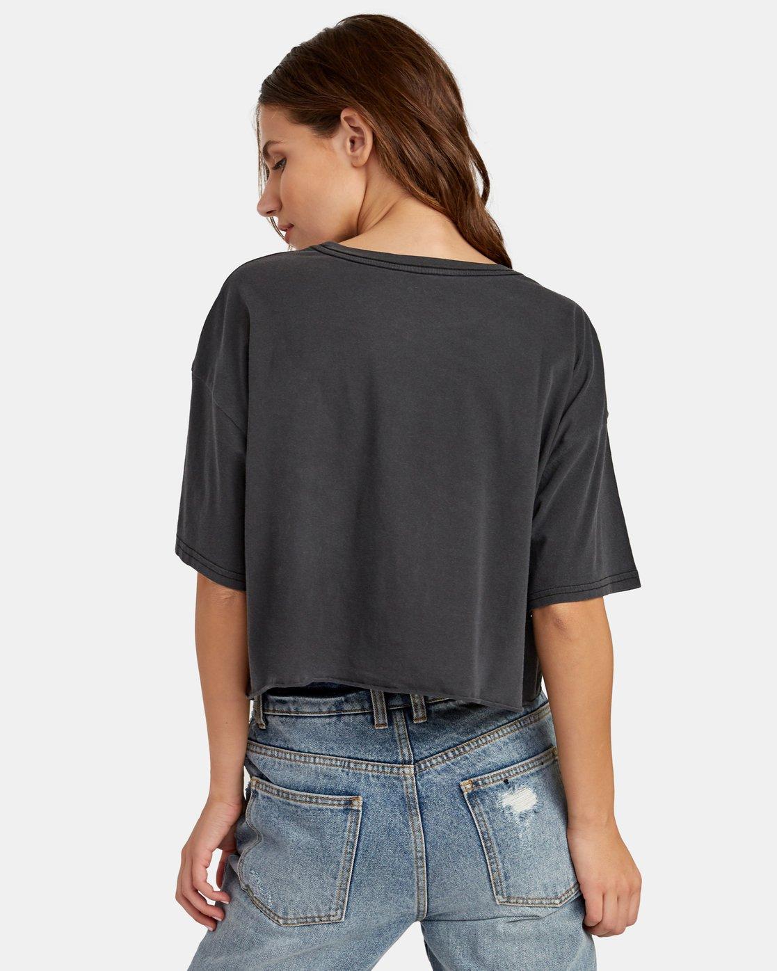 2 Big RVCA Cropped T-Shirt Black W441WRBR RVCA