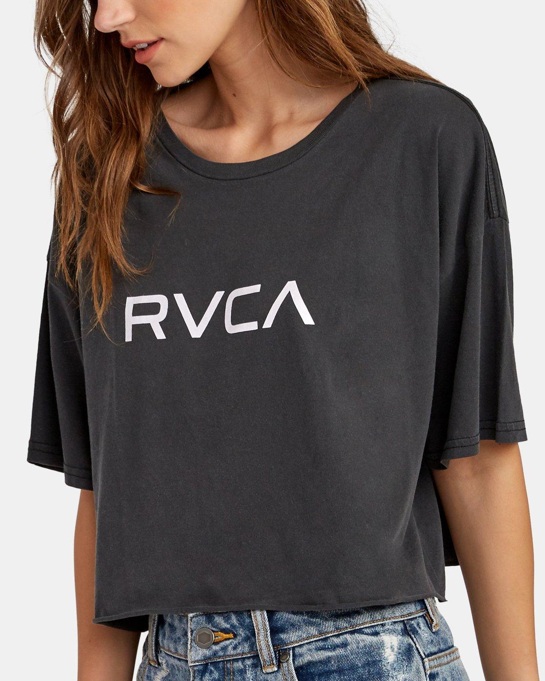 3 Big RVCA Cropped T-Shirt Black W441WRBR RVCA